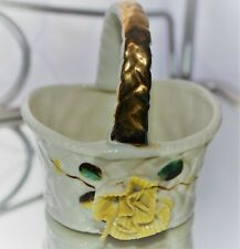 Vintage Porcelain Yellow Flower Basket with Gold Handle
