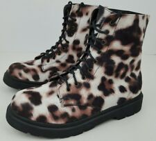 Forever 21 Women's Size 7 Animal Print Combat Style Lace Up Ankle Booties NWOB