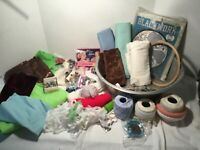 Huge Lot of Vintage Sewing Notions Fabric String Lace Buttons Needlework Kit Pan