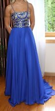 Sherri Hill Womens Royal Blue Embroidered Spaghetti Strap Evening Prom Dress 00