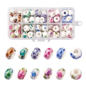 80pcs Rondelle Handmade European Porcelain Large Hole Beads Slide Charms 14x9mm