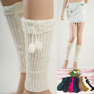 Women  LEG WARMERS Winter Warm Knit Crochet  Boot Socks L1005