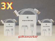 3X Original Genuine Apple iPhone 4 4S 3GS 3G 30 Pin USB Sync Data Cable Charger