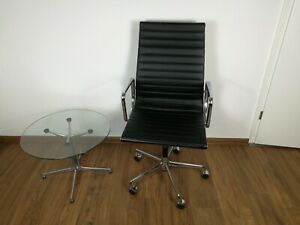 Vitra Charles Eames EA 119 -Chair Schwarz Leder chrom Konferenz, Büro, Stuhl