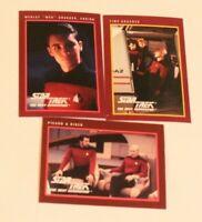 Star Trek TNG Cards Lot of 3 Wesley Crusher, Picard & Riker & Time Squared 1991