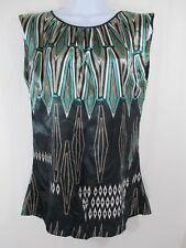 Zara Silky Green Black Sleeveless Blouse Shirt Women's Size M