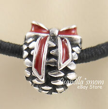 PINECONE Authentic PANDORA Silver/Red Enamel CHRISTMAS Charm~Bead NEW w BOX NR!