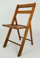Vintage Slatted Oak Wood Folding Chair Yacht Club Arts & Crafts Mid-Century