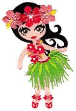 ak63 Hula Tänzerin Hawaii Mädchen Blumen Aufnäher Bügelbild Patch 6,9 x 10 cm