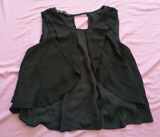 ZARA Basic Women's Black Flowy Crop Sleeveless Top Size XS Good Used Condition