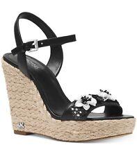 NIB Size 9 Michael Kors JILL Black Flower Espadrille Leather Wedge  $145 RETAIL