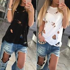 Fashion Summer Hole Ripped Blouse Women Rock Party Shirt Dress Long T Shirt Tops