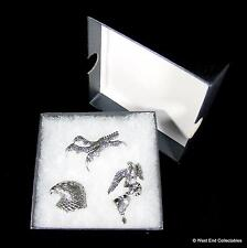Falconry Hawk Handmade Pewter Pin Brooch Set - 3 x Badge in Gift Box