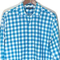 Tommy Hilfiger Mens 16 34-35 Button Down Long Sleeve Blue Check Shirt