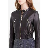 Bomber Leather Jacket Women Black Pure Lambskin Size XS S M L XL XXL Custom Made