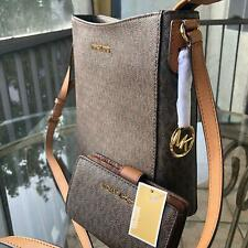 Michael Kors PVC Leather Brown Messenger Crossbody Handbag Purse +Bifold Wallet