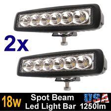 2X 6INCH 18W LED WORK LIGHT BAR SPOT BEAM OFFROAD DRIVING FOG 4WD LAMP UTE SUV
