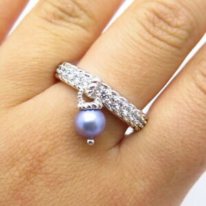 Judith Ripka 925 Sterling Silver Real Pearl & C Z Dangling Charm Ring Size 8
