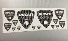 14 Adesivi Stickers DUCATI CORSE Old Carbonio Carbon Look Varie Misure