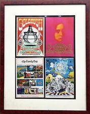 Framed group of 4 postcard handbills 7 x 5 Quicksilver Canned Heat