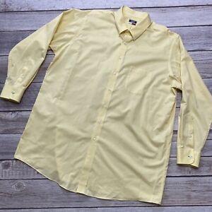 Izod Quick Dry Men Tall Size 19 35/36 Yellow Long Sleeve Button Down Dress Shirt