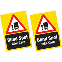 2 x Blind Spot Take Care LARGE Vinyl Sticker HGV Lorry Van Cyclists Safety