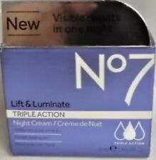 Boots No7 Lift & Luminate Triple Action Night Cream 1.69 fl oz/ 50mL~ Brand New