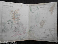 Antiquarian Colour Outlined Map of the British Islands c1895, Orkney/Shetland/Ci