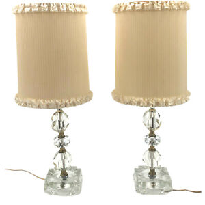 "Vintage Leviton MCM Cut Crystal Table Lamp Set of 2 Ruffle Shade Retro 12"" USA"