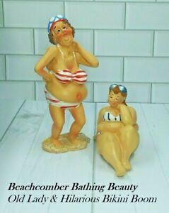 2 Beachcomber Bathing Beauty Old Lady & Hilarious Bikini Boom Sculpture Figurine