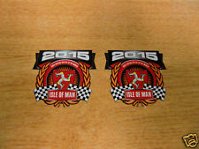 x2 decals - ISLE OF MAN RACES 2015 crest/shield - size 45mm