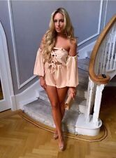 AUTHENTIC The Dolls House Fashion WHITE Cara Bardot Silky Satin Playsuit Dress L