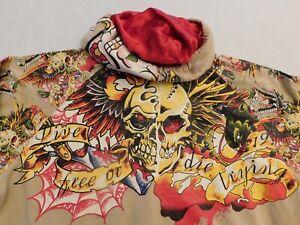 Lot#1104 Vintage Pepe Jeans USA 73  Skull Print Hoodie Zip Up Jacket Size 2XL