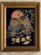 Vintage Owl Needlepoint Crewel Art Piece