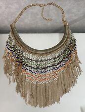 ALDO Chic Gold  Beaded Crystal Swarvoski Bib Drop Necklace green blue orange