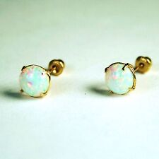 14K solid Yellow gold 7mm cabochon Fire Opal stick earrings 2.3 tcw