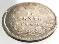 1900 Canada 10 Cents Silver Dime Circulated Victoria Canadian Ten Cent Coin R465