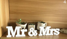 White Mr and Mrs Letters Sign Wooden Standing Top Table Wedding Party Decor、FO