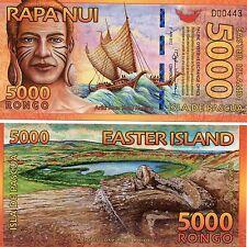 Easter Island Isla de Pascua 5000 Rongo 2012 Fantasy Issue Polymer Note