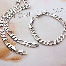 18K  White Gold Filled Figaro Necklace/Bracelet Set (S-106)