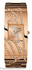 GUESS ROSE GOLD S/STEEL SIGNATURE+CRYSTALS GLITZ BANGLE LARGE WATCH-W16558L1-NEW