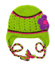 NEW Green Purple Earflap Hat  Small, 4-12 Months