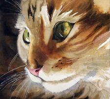 Giclee Print Maine Coon Tabby Cat Art Painting 'Little Girl Pet Portrait