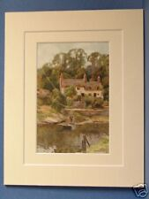 CHESTER OVERTON ON DEE FERRY VINTAGE MOUNTED PRINT 10X8
