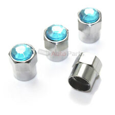 (4) Bling Crystal Blue Diamond Tire/Wheel Air Stem Valve CAPS for Car-Truck-SUV