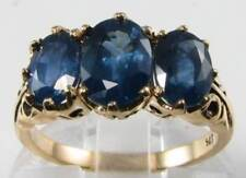 BIG 9K 9CT GOLD VICTORIAN INS BLUE SAPPHIRE 3 STONE  INS RING FREE RESIZE