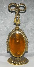 Victorian Ornate Gold Brass Amber Glass Guild Crest Vanity Perfume Bottle