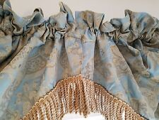 "Croscill Pair Waterfall Swag Valance Curtsey Formal Fringe 48"" x 33"" Aqua Gold"
