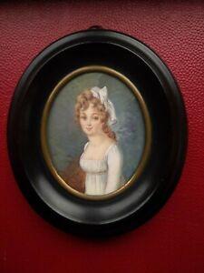Ancienne Peinture miniature portrait comtesse Legrande MOURNING