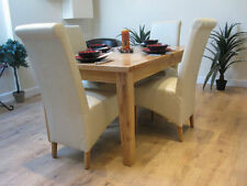 Extending Solid Oak Dining Table And Four Ivory Bonded Leather Chairs 120/165CM